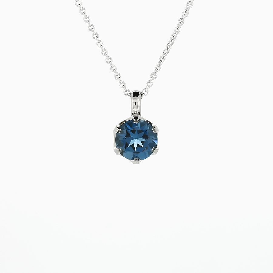 necklace auroral in blue white ct topaz pendant gold