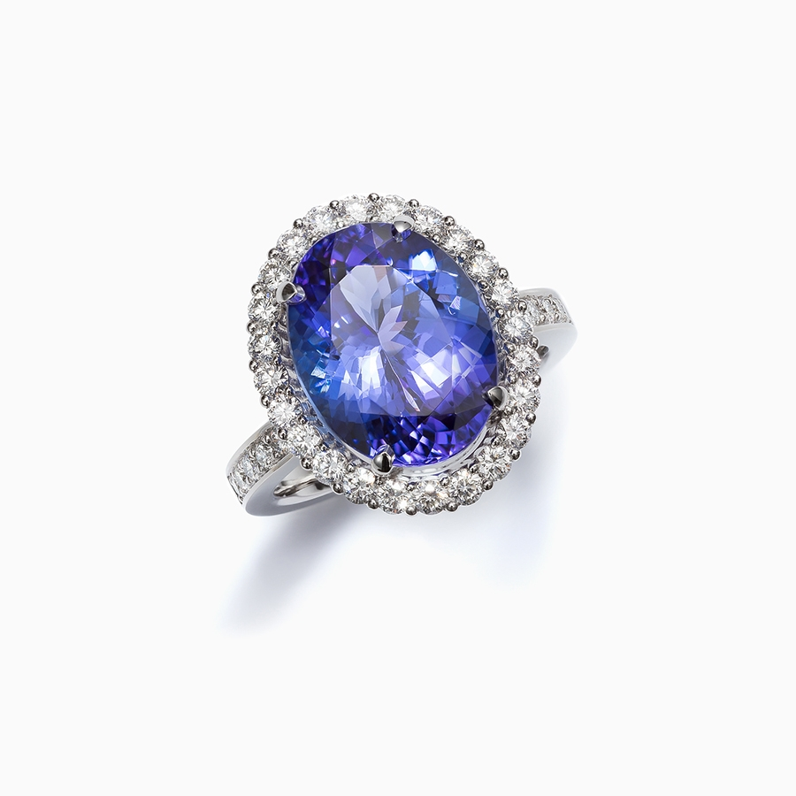 tanzanite ring gia certified platinum and dark i diamond