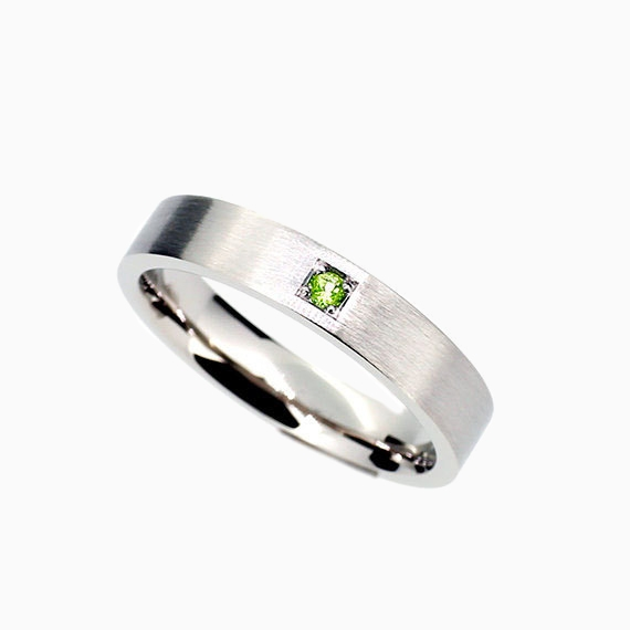 Piste Wedding Band With Green Diamond In Palladium